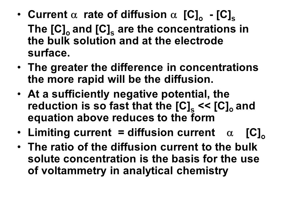 Current  rate of diffusion  [C]o - [C]s